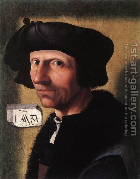 Self-Portrait 1533 by Jacob Cornelisz Van Oostsanen - Reproduction Oil Painting