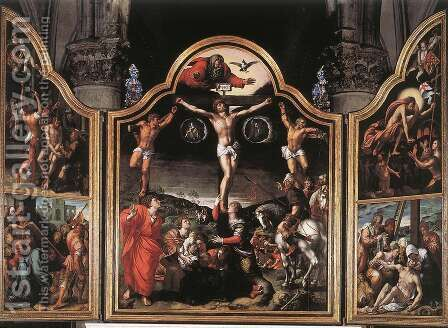 Altarpiece of Calvary c. 1534 by Bernaert van Orley - Reproduction Oil Painting