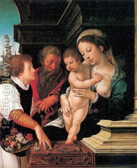 The Holy Family 1521 by Bernaert van Orley - Reproduction Oil Painting