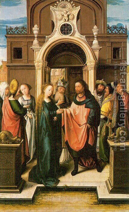 The Marriage of the Virgin 1513 by Bernaert van Orley - Reproduction Oil Painting