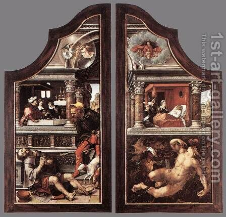 Triptych of Virtue of Patience (closed) 1521 by Bernaert van Orley - Reproduction Oil Painting