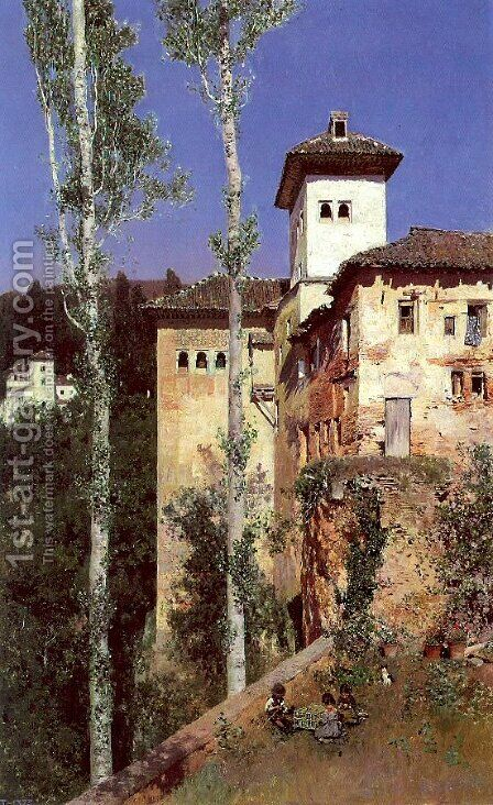The Ladies' Tower in the Alhambra, Granada by Martin Rico y Ortega - Reproduction Oil Painting