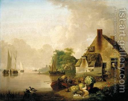 River Landscape by Jan van Os - Reproduction Oil Painting