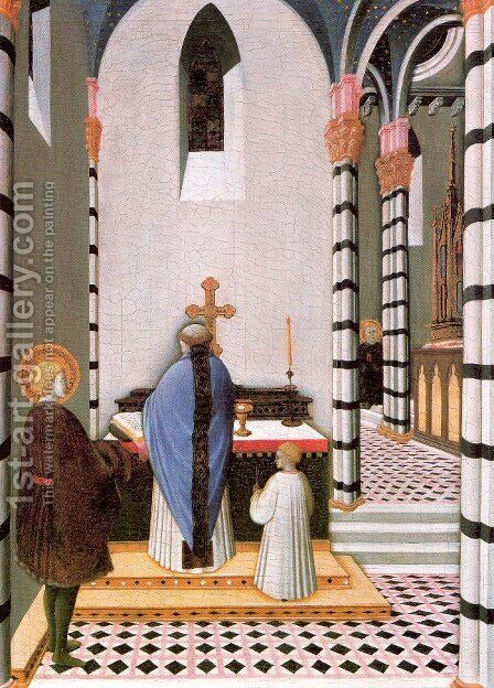 St. Anthony at Mass Dedicates his Life to God 1435 by Master of the Osservanza - Reproduction Oil Painting