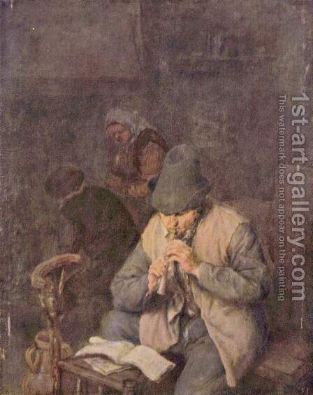 Flute Player 1660 by Adriaen Jansz. Van Ostade - Reproduction Oil Painting