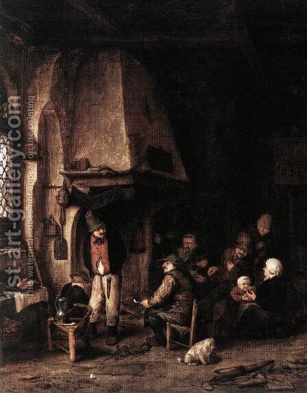 Interior of a Farmhouse with Skaters by Adriaen Jansz. Van Ostade - Reproduction Oil Painting
