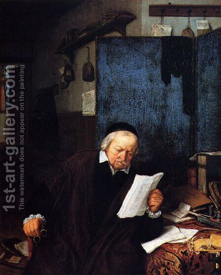 Lawyer in his Study by Adriaen Jansz. Van Ostade - Reproduction Oil Painting