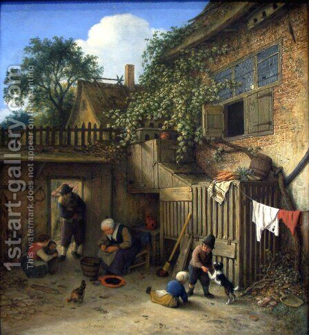 The Cottage Dooryard 1673 by Adriaen Jansz. Van Ostade - Reproduction Oil Painting