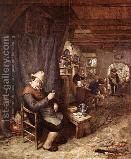 The Drinker by Adriaen Jansz. Van Ostade - Reproduction Oil Painting