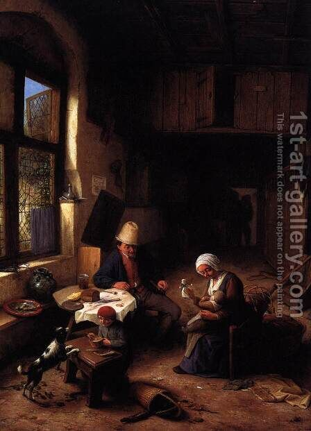 The Interior of a Peasant's Cottage 1668 by Adriaen Jansz. Van Ostade - Reproduction Oil Painting