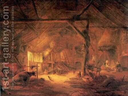 Barn Interior 1645 by Isaack Jansz. van Ostade - Reproduction Oil Painting