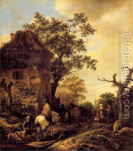 The Outskirts of a Village with a Horseman by Isaack Jansz. van Ostade - Reproduction Oil Painting