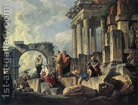 Apostle Paul Preaching on the Ruins 1744 by Giovanni Paolo Pannini - Reproduction Oil Painting