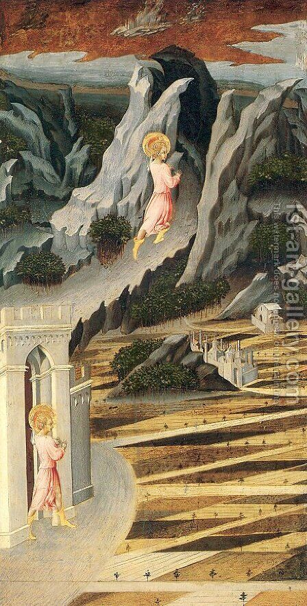 Saint John the Baptist Entering the Wilderness 1455-60 by Giovanni di Paolo - Reproduction Oil Painting