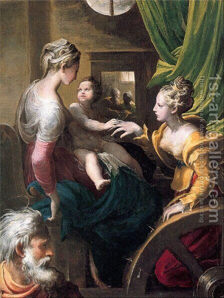 The Mystic Marriage of Saint Catherine 1525-27 by Girolamo Francesco Maria Mazzola (Parmigianino) - Reproduction Oil Painting