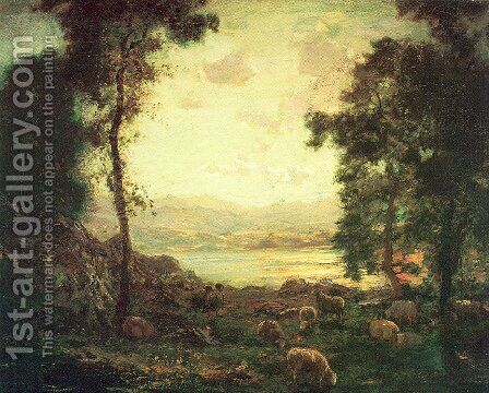 Landscape with Sheep Grazing 1885-89 by Arthur Parton - Reproduction Oil Painting
