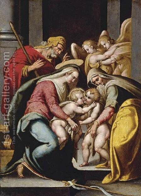 The Holy Family with St Elizabeth and the Infant St John the Baptist c. 1572 by Bartolomeo Passerotti - Reproduction Oil Painting