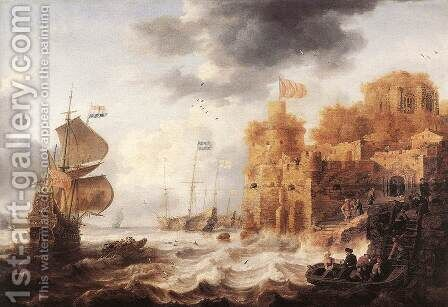 An Oriental Harbour 1650-52 by Bonaventura, the Elder Peeters - Reproduction Oil Painting