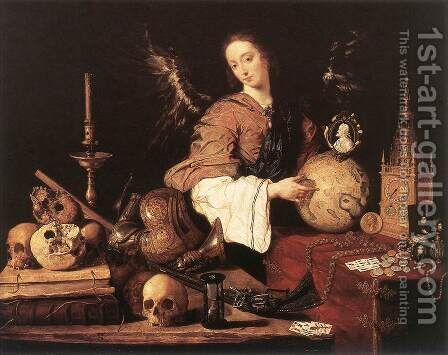 Allegory c. 1654 by Antonio de Pereda - Reproduction Oil Painting