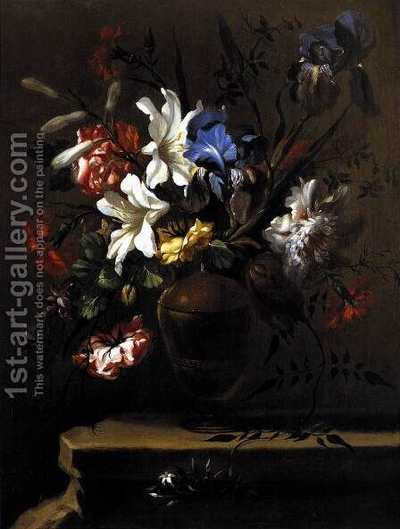 Vase of Flowers (2) c. 1690 by Bartolome Perez - Reproduction Oil Painting