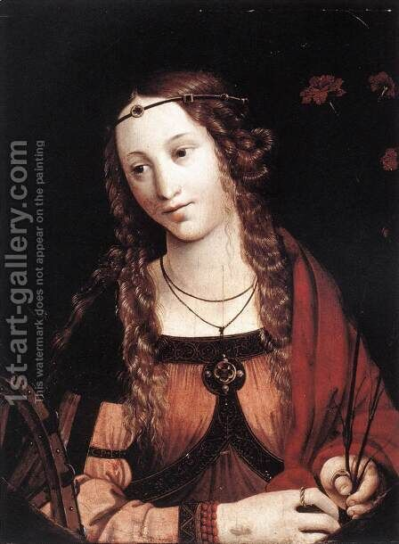 St Catherine of Alexandria 1540 by Callisto Piazza Da Lodi - Reproduction Oil Painting