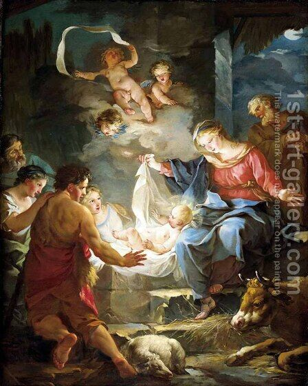 Nativity by Jean-Baptiste-Marie Pierre - Reproduction Oil Painting