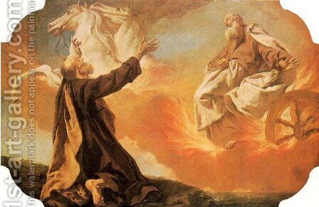 Elijah Taken up in a Chariot of Fire 1745 by Giovanni Battista Piazzetta - Reproduction Oil Painting
