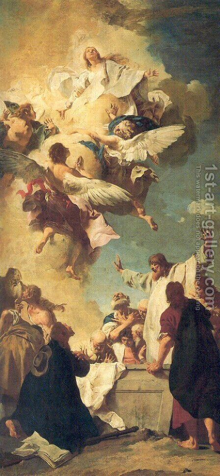 The Assumption of the Virgin 1735 by Giovanni Battista Piazzetta - Reproduction Oil Painting