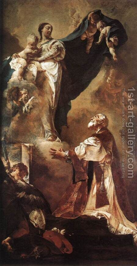 The Virgin Appearing to St Philip Neri 1725 by Giovanni Battista Piazzetta - Reproduction Oil Painting